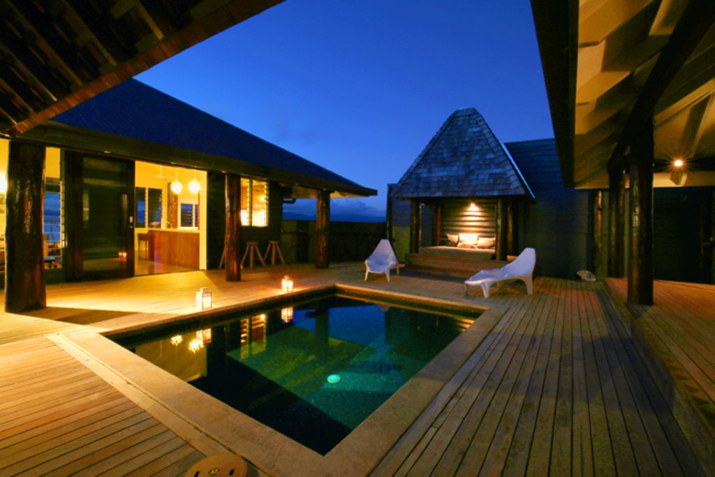 The Pod House, private marble tiled pool, complete privacy