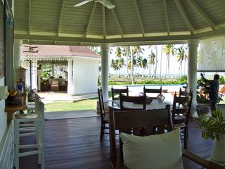 Las Terrenas villa photo - Dining area looking towards gazebo, kitchen at left.