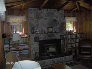 Honor cabin photo - Cozy Wood Burning Stove in Fieldstone Fireplace