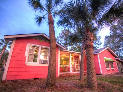 Tybee Island cottage rental - Palm trees and porches. My Island Cottage is a large, fun family beach house