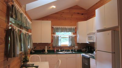 A fully stocked kitchen awaits you in this cabin