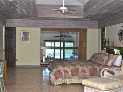 Very large Master bedroom with A/C and views of Buck Island and clear blue seas.