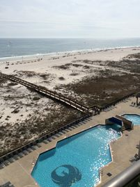 Orange Beach condo rental - View of pool and gulf from balcony.