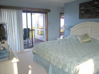 Broadkill Beach house photo - Master BedroomB, King-size bed, View to ocean, & Doorway to HotTub Room