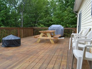 Pocono Summit house photo - The deck with Gas grill and fire pit.