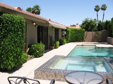 Palm Desert house rental - Heated, Salt Water Pool and Spa; note the Retractable Shade Awning for Hot Days