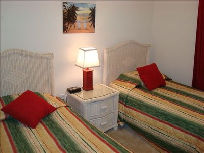 Second Bedroom with Twin Beds, TV, and DVD
