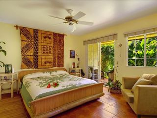 Poipu house photo - Large King Size Master Suite. Retreat from the group your private garden lanai