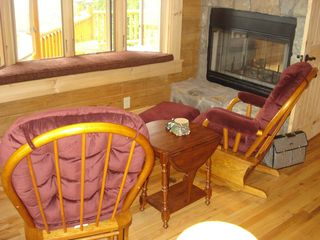 Maggie Valley cabin photo - Master Sitting Area with Fireplace & Bay Window
