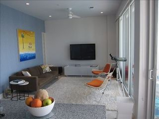 Galveston condo photo - Living room with Helen Peck Original painted for this room.