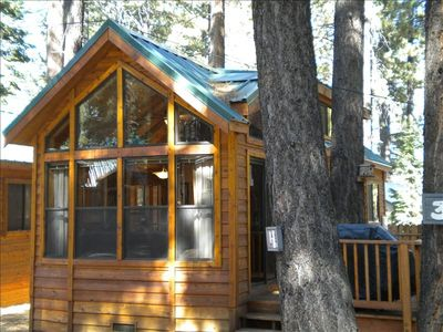 This is the front of our cedar cabin