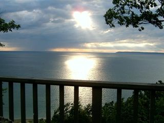 Glen Arbor condo photo - View of Lk Michigan & So, Manitau Island from the deck.