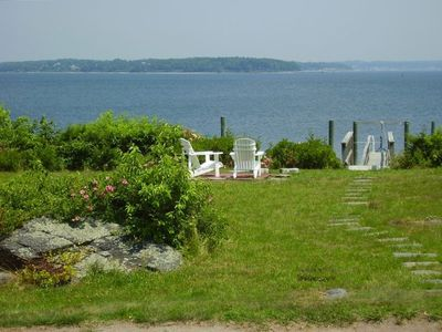 Prudence Island house rental - Dock, waterfront set of Adirondacks