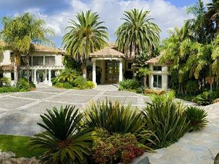 Rancho Santa Fe estate photo - Front Entrance to the Main home, Portico and Grand Courtyard.