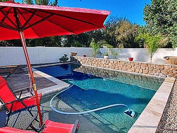 Chandler house rental - Pool has a Custom-Built Extra Large First Step & Two Delightful Water Features.