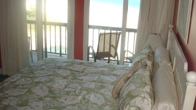 Master Bedroom has beautiful Gulf view from inside and outside on the balcony!