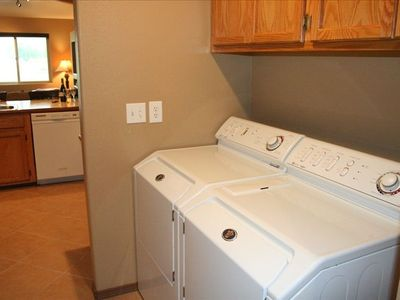 Full size laundry, Maytag set with all the soaps, so handy for active guests!
