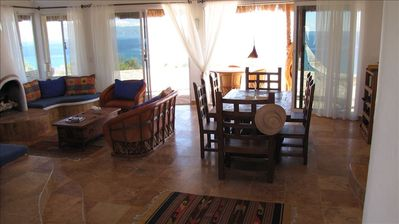 Living and dining area with view overlooking the Sea of Cortez, Isla Cerralvo.