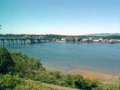 View of River & Historic Siuslaw Bridge from the Best Western Pier Point Inn