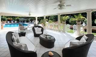 Sandy Lane villa photo - Large covered terrace by the pool has comfortable outdoor seating for guests