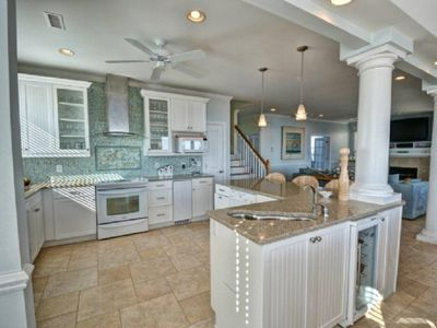 North Topsail Beach house rental - Kitchen w 2 DW, free standing ice maker, wine fridge,wave bar sink,fully stocked