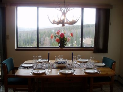 Dining Room seats 8 with gorgeous views, antler chandelier and ambiance!