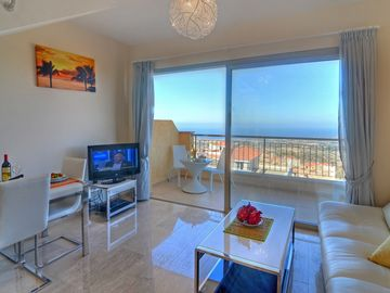 The 48sqm air-conditioned holiday home is beautifully furnished throughout
