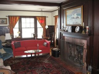 Cape Neddick house photo - Living room with fireplace