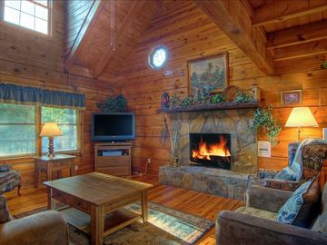Pigeon Forge cabin rental - Family Room with Wood-Burning Fireplace