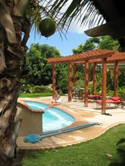 Rincon villa photo - another view of pool deck, sit and gaze at Desecheo Island