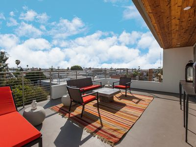 Seating area on rooftop deck.