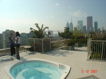 Rooftop terrace with hot tub and bbq area