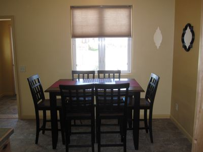 Dining area - serves 6. Table has butterfly extension leaf