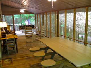 Clayton cabin photo - Huge screened in porch with porch swing, ceiling fans & plenty of room for all!