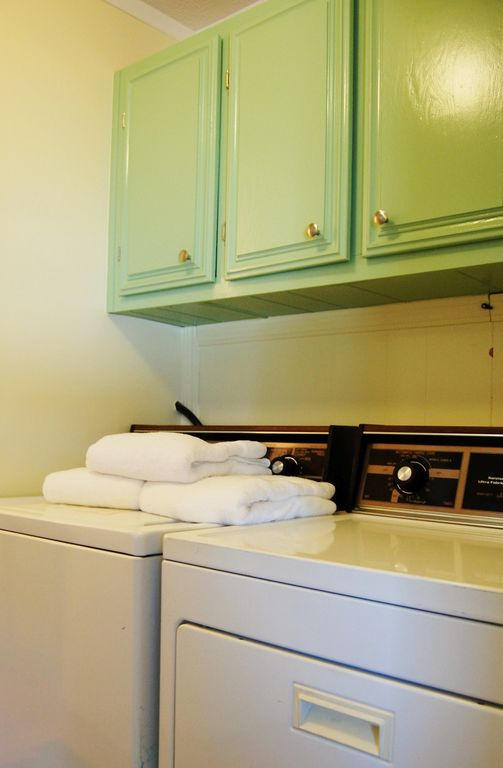 Laundry room has detergent and other supplies for your use.
