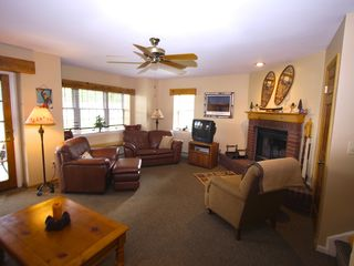 Lake Placid condo photo - Family Room with wood burning fireplace