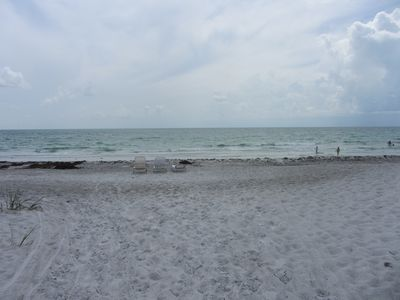 Beautiful private white sand beach with lounges only 150 yds. from the condo.