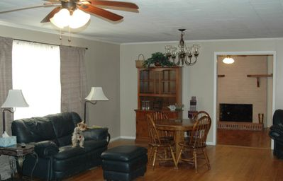 Robbinsville farmhouse rental - living room and dining room looking into the family room