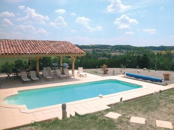 Pool area with views south over the valley