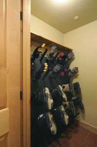 Commercial boot/glove dryer in change area. Dries 8 boots or gloves in 5 min.