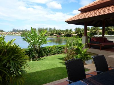 Beautiful landscape garden overlooking Lagoon