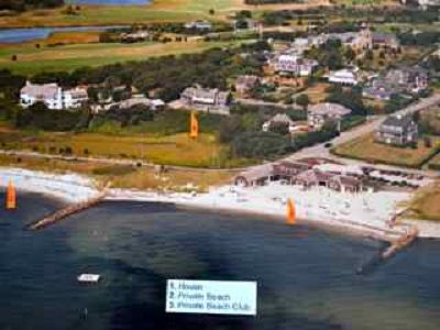 Aerial view of our private beach, house and beach club