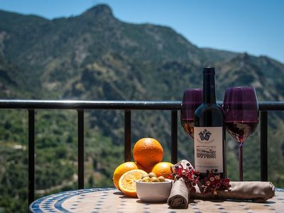 Granada apartment rental - Enjoy the wonderful views of the Sierra Nevada & local wine on the balcony.