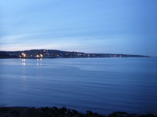 Rockport condo photo - Night scene, end of Bearskin Neck looking north towards Pigeon Cove.