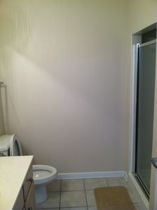 Hall Bathroom with stand in shower