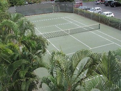 Six tennis courts on property