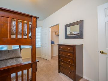 Second Bedroom with bay window. Comfortable Full Size Bunk Beds, quality linen