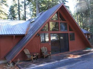 Chambers Landing house rental - front of this Chambers cabin. Plenty of level parking