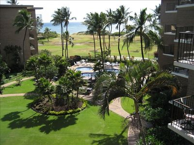 View from the 5th floor Lanai overlooking the pool