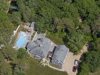 Aerial View of Home , swimming pool, jacuzzi, and Monet Pond